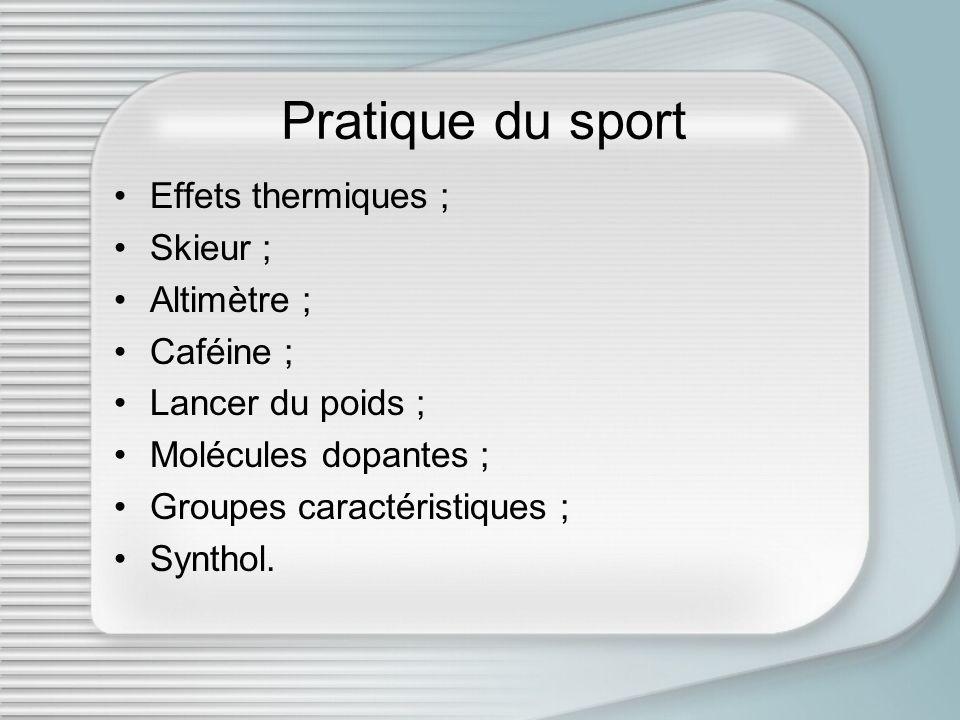 Pratique du sport Effets thermiques ; Skieur ; Altimètre ; Caféine ; Lancer du poids ; Molécules dopantes ; Groupes caractéristiques ; Synthol.