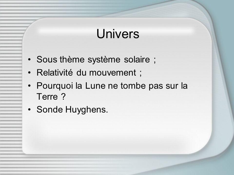 Univers Sous thème système solaire ; Relativité du mouvement ; Pourquoi la Lune ne tombe pas sur la Terre ? Sonde Huyghens.