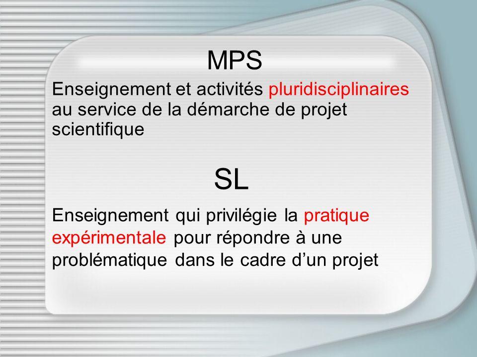 MPS Enseignement et activités pluridisciplinaires au service de la démarche de projet scientifique SL Enseignement qui privilégie la pratique expérime