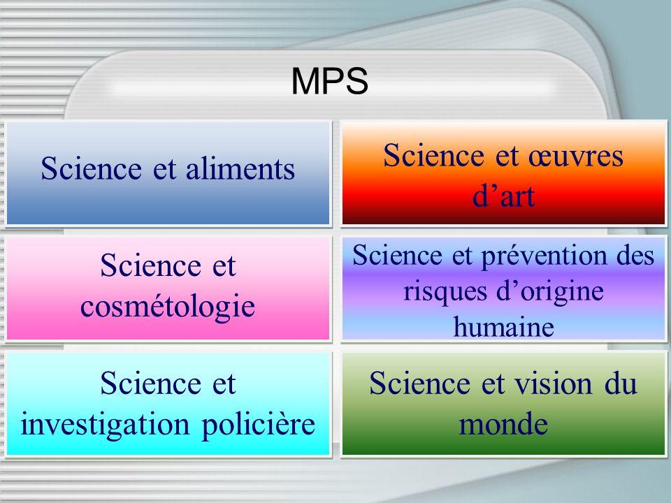 MPS Science et aliments Science et cosmétologie Science et investigation policière Science et œuvres dart Science et prévention des risques dorigine h