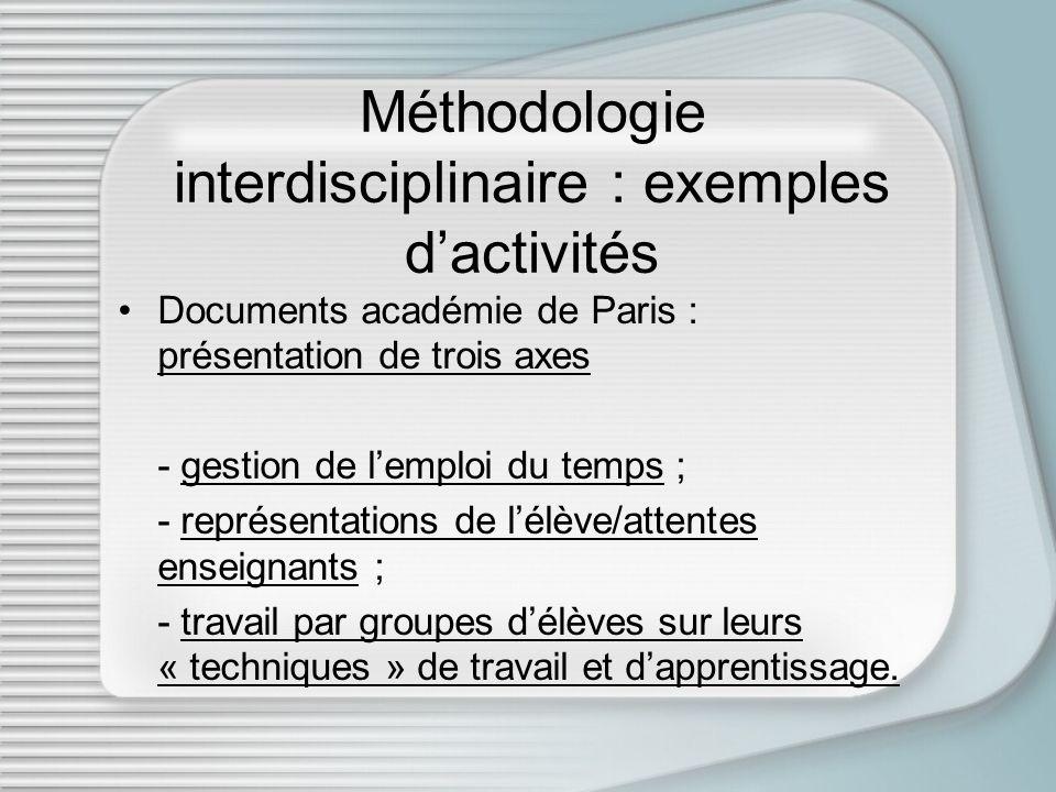 Méthodologie interdisciplinaire : exemples dactivités Documents académie de Paris : présentation de trois axes présentation de trois axes - gestion de