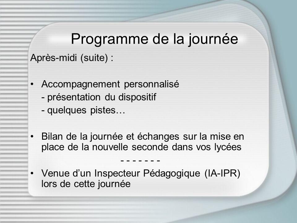 Programme de la journée Après-midi (suite) : Accompagnement personnalisé - présentation du dispositif - quelques pistes… Bilan de la journée et échang