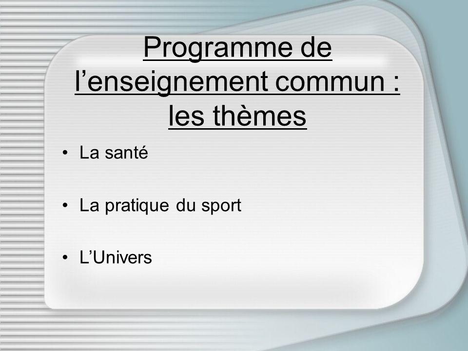 Programme de lenseignement commun : les thèmes La santé La pratique du sport LUnivers