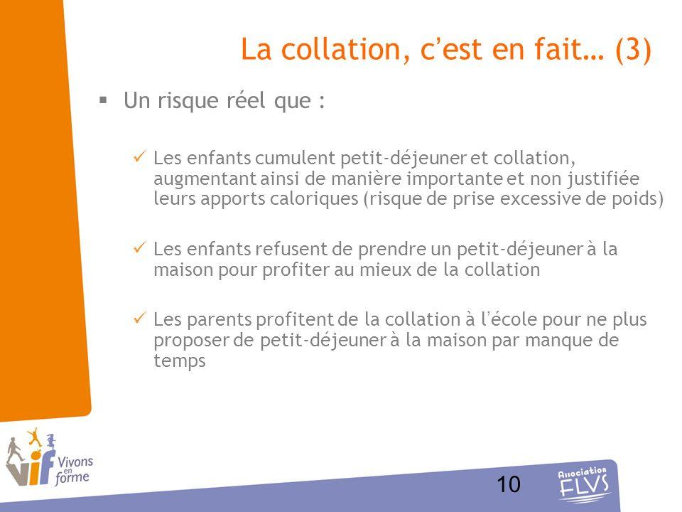 10 La collation, cest en fait… (3) Un risque réel que : Les enfants cumulent petit-déjeuner et collation, augmentant ainsi de manière importante et no