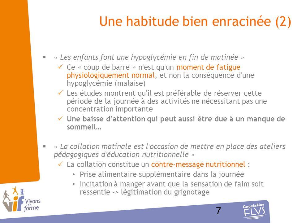 7 Une habitude bien enracinée (2) « Les enfants font une hypoglycémie en fin de matinée » Ce « coup de barre » nest quun moment de fatigue physiologiq