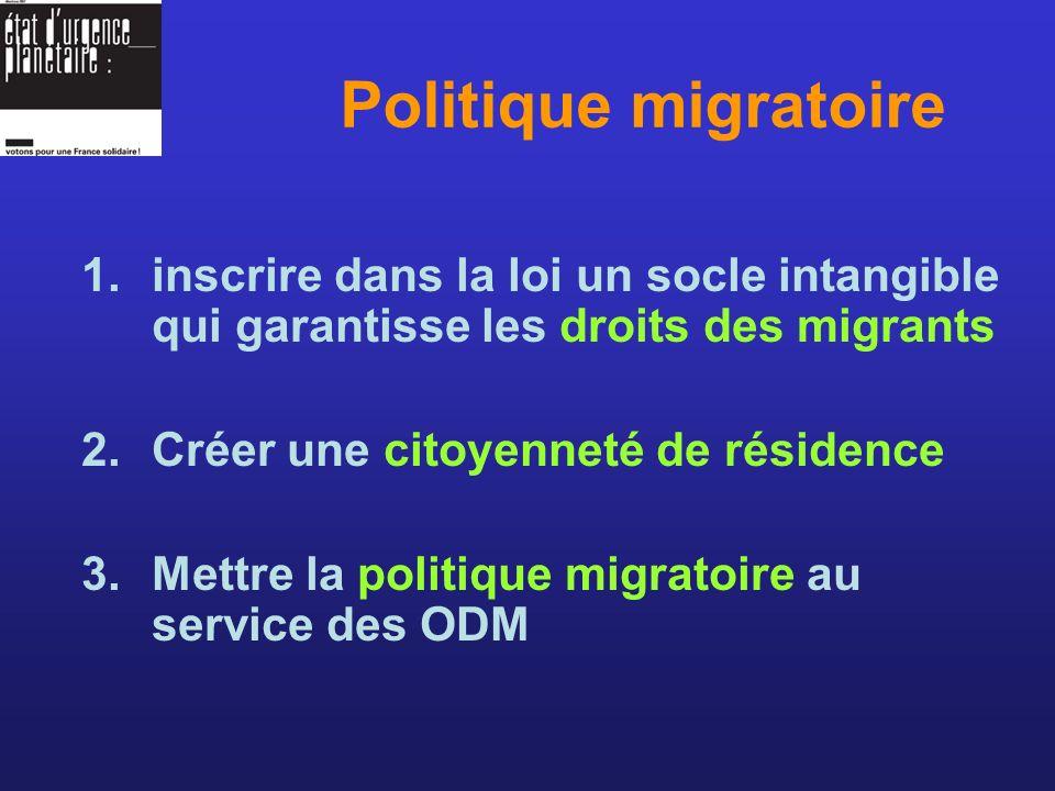 1.inscrire dans la loi un socle intangible qui garantisse les droits des migrants 2.Créer une citoyenneté de résidence 3.Mettre la politique migratoire au service des ODM Politique migratoire