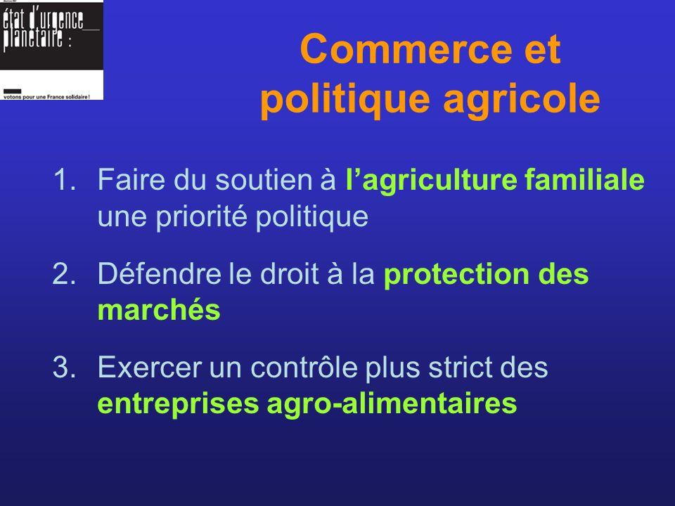 1.Faire du soutien à lagriculture familiale une priorité politique 2.Défendre le droit à la protection des marchés 3.Exercer un contrôle plus strict des entreprises agro-alimentaires Commerce et politique agricole