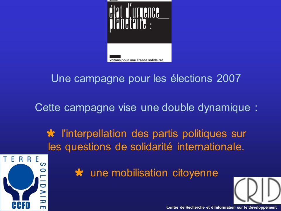 Une campagne pour les élections 2007 Cette campagne vise une double dynamique : l interpellation des partis politiques sur les questions de solidarité internationale.
