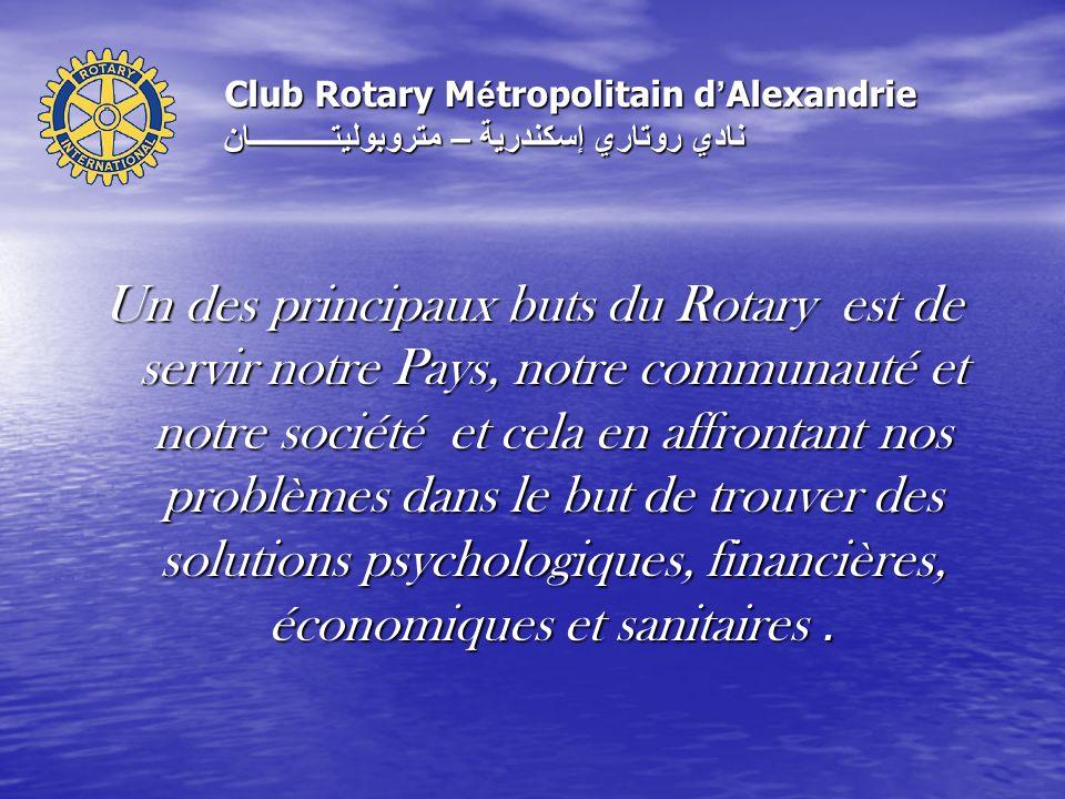 Un des principaux buts du Rotary est de servir notre Pays, notre communauté et notre société et cela en affrontant nos problèmes dans le but de trouver des solutions psychologiques, financières, économiques et sanitaires.