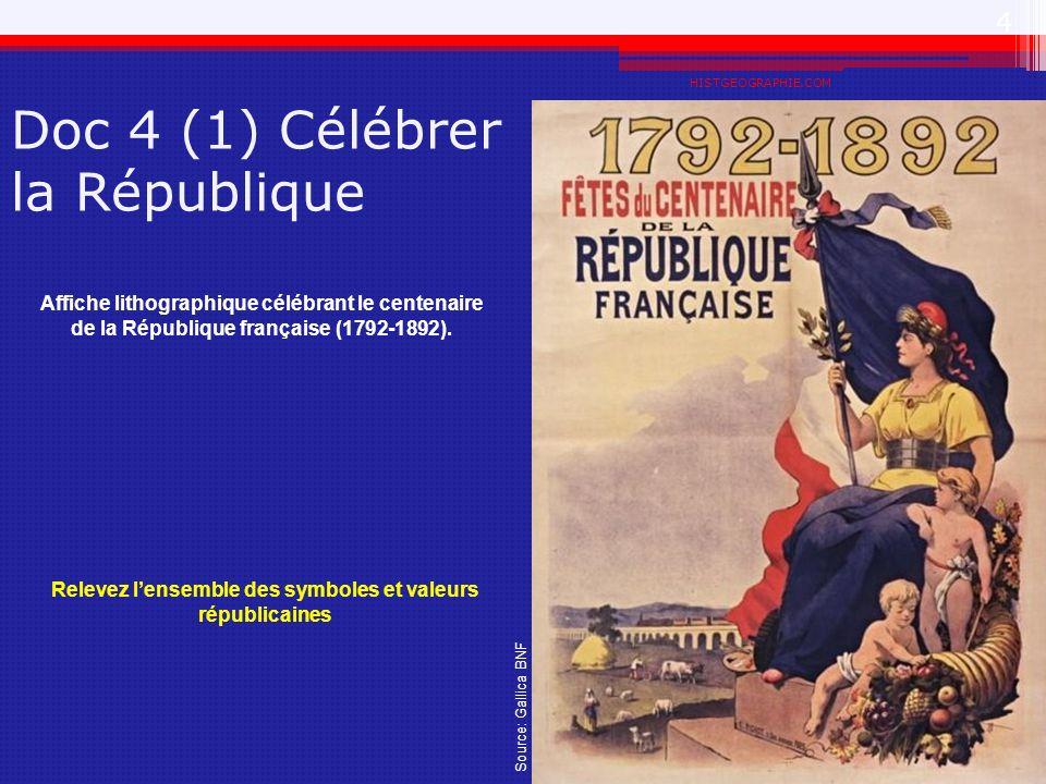 Doc 4 (1) Célébrer la République HISTGEOGRAPHIE.COM 4 Affiche lithographique célébrant le centenaire de la République française (1792-1892). Source: G