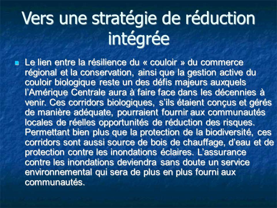 Vers une stratégie de réduction intégrée Le lien entre la résilience du « couloir » du commerce régional et la conservation, ainsi que la gestion active du couloir biologique reste un des défis majeurs auxquels lAmérique Centrale aura à faire face dans les décennies à venir.