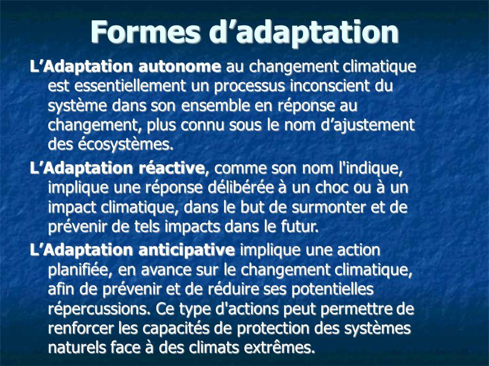 Formes dadaptation LAdaptation autonome au changement climatique est essentiellement un processus inconscient du système dans son ensemble en réponse au changement, plus connu sous le nom dajustement des écosystèmes.