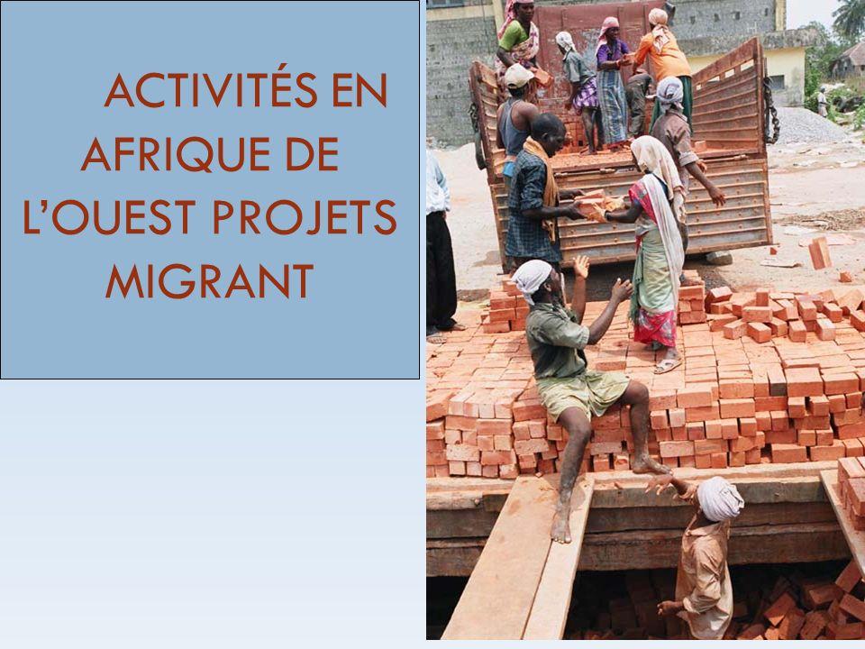Améliorer les capacités institutionnelles pour la gouvernance des migrations de main-doeuvre en Afrique du nord et de lOuest Accroître les capacités institutionnelles de formulation et de mise en oeuvre de politiques migratoires efficaces et cohérentes et améliorer la gouvernance et ladministration de la migration de main-doeuvre en respectant les conventions internationales de lOIT sur les travailleurs migrants ainsi que les autres instruments internationaux pertinents ; Développer la protection des travailleurs migrants de lAfrique du Nord et de lOuest, en relation avec les conventions de lOIT sur les travailleurs migrants et les autres instruments internationaux pertinents ; Augmenter les connaissances de base nécessaires à la formulation et à la mise en oeuvre dune politique de migration de main-doeuvre cohérente, au dialogue social et à la prise de décision ; Objectifs