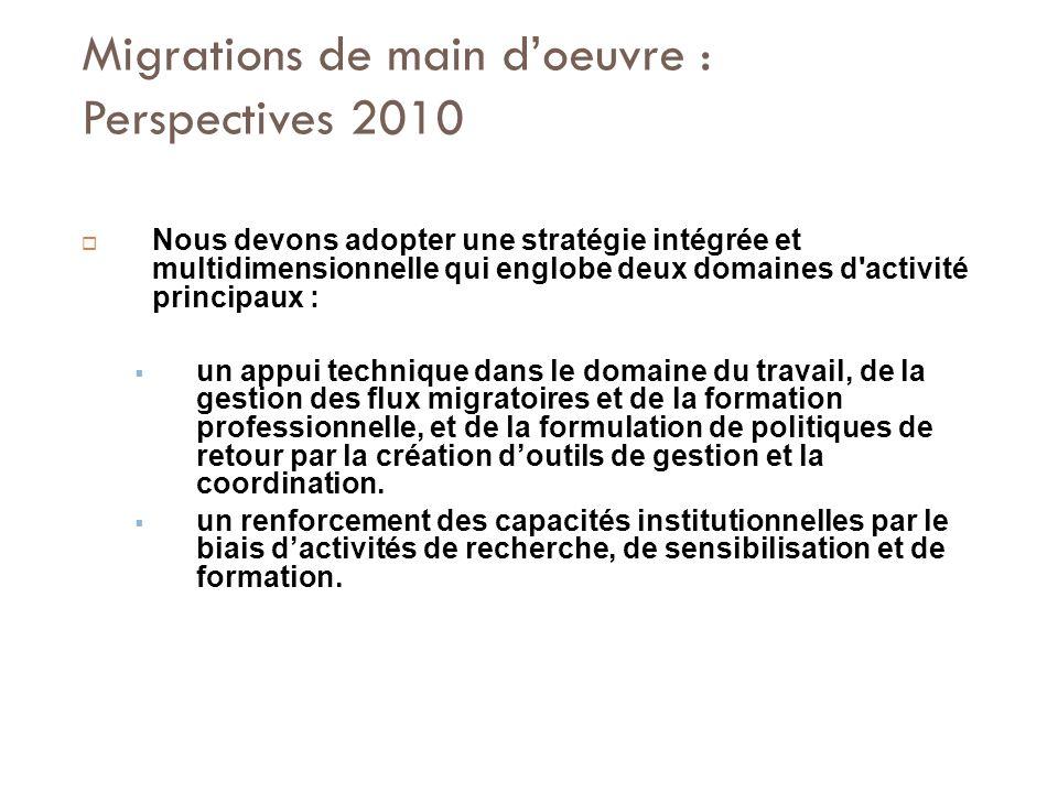 Migrations de main doeuvre : Perspectives 2010 Nous devons adopter une stratégie intégrée et multidimensionnelle qui englobe deux domaines d activité principaux : un appui technique dans le domaine du travail, de la gestion des flux migratoires et de la formation professionnelle, et de la formulation de politiques de retour par la création doutils de gestion et la coordination.