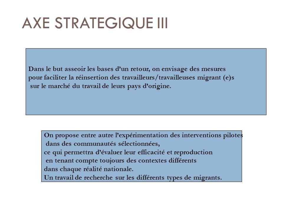 AXE STRATEGIQUE III Dans le but asseoir les bases dun retour, on envisage des mesures pour faciliter la réinsertion des travailleurs/travailleuses migrant (e)s sur le marché du travail de leurs pays dorigine.
