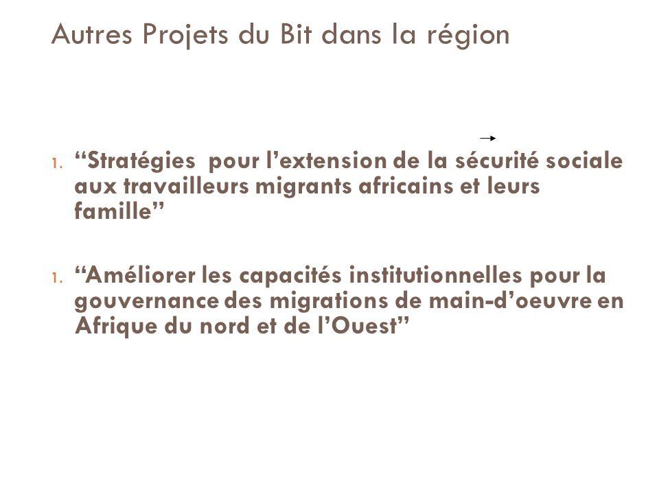 Autres Projets du Bit dans la région 1.Stratégies pour lextension de la sécurité sociale aux travailleurs migrants africains et leurs famille 1.