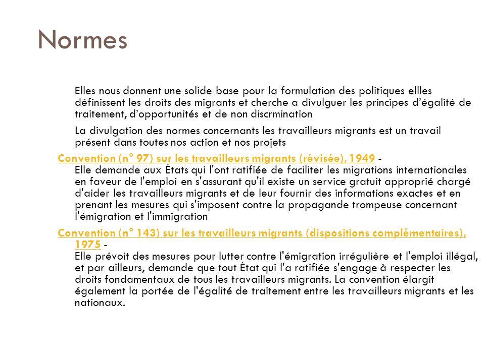 Normes Elles nous donnent une solide base pour la formulation des politiques ellles définissent les droits des migrants et cherche a divulguer les principes dégalité de traitement, dopportunités et de non discrmination La divulgation des normes concernants les travailleurs migrants est un travail présent dans toutes nos action et nos projets Convention (n° 97) sur les travailleurs migrants (révisée), 1949Convention (n° 97) sur les travailleurs migrants (révisée), 1949 - Elle demande aux États qui l ont ratifiée de faciliter les migrations internationales en faveur de l emploi en s assurant qu il existe un service gratuit approprié chargé d aider les travailleurs migrants et de leur fournir des informations exactes et en prenant les mesures qui s imposent contre la propagande trompeuse concernant l émigration et l immigration Convention (n° 143) sur les travailleurs migrants (dispositions complémentaires), 1975Convention (n° 143) sur les travailleurs migrants (dispositions complémentaires), 1975 - Elle prévoit des mesures pour lutter contre l émigration irrégulière et l emploi illégal, et par ailleurs, demande que tout État qui l a ratifiée s engage à respecter les droits fondamentaux de tous les travailleurs migrants.