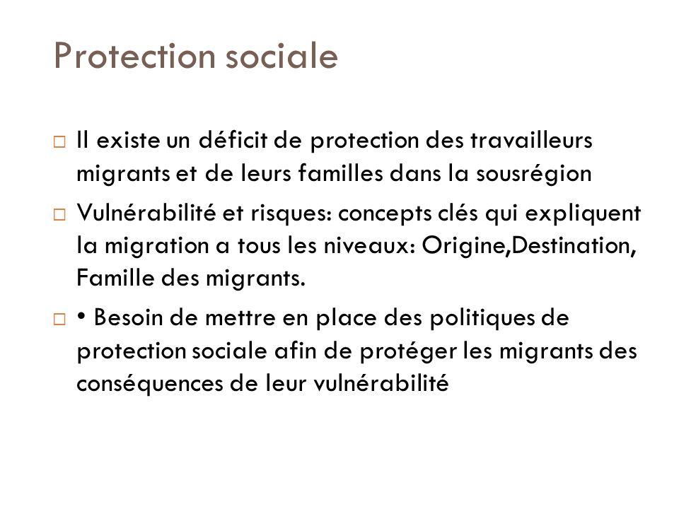 Protection sociale Il existe un déficit de protection des travailleurs migrants et de leurs familles dans la sousrégion Vulnérabilité et risques: concepts clés qui expliquent la migration a tous les niveaux: Origine,Destination, Famille des migrants.