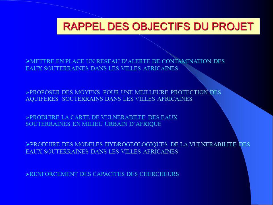 INTEGRATION DES CHERCHEURS IVOIRIENS AU RESEAU DE CHERCHEURS DE LAFRIQUE DE LOUEST BONNE COOPERATION BASEE SUR LA CAMADERIE ET L AMITIE ECHANGE D EXPERIENCE VUE SYNOPTIQUE DES PROBLEMES DE POLLUTION DES AQUIFERES DES VILLES DE LA SOUS REGION FORMATION SUR LA RECHARGE DES NAPPES AU NIGER ( JUILLET 2000) REUNION D EVALUATION ABIDJAN ( SEPTEMBRE 2001)