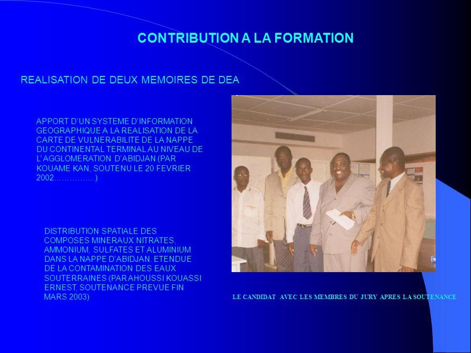 CONTRIBUTION A LA FORMATION REALISATION DE DEUX MEMOIRES DE DEA APPORT DUN SYSTEME DINFORMATION GEOGRAPHIQUE A LA REALISATION DE LA CARTE DE VULNERABI
