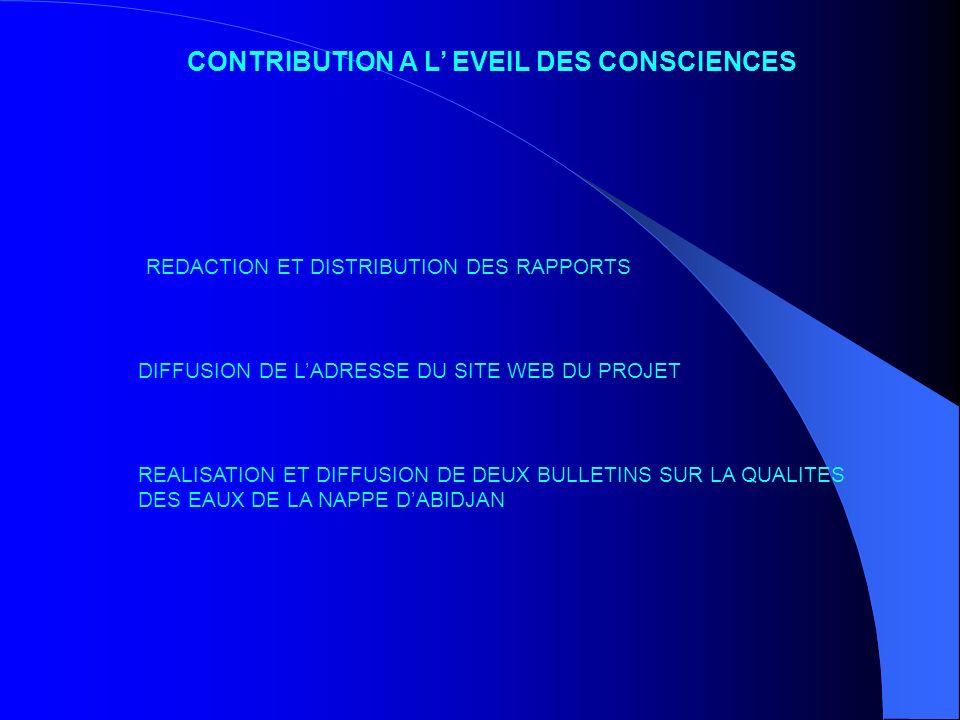 CONTRIBUTION A L EVEIL DES CONSCIENCES REDACTION ET DISTRIBUTION DES RAPPORTS DIFFUSION DE LADRESSE DU SITE WEB DU PROJET REALISATION ET DIFFUSION DE
