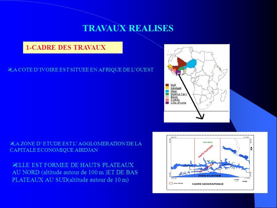 TRAVAUX REALISES 1-CADRE DES TRAVAUX LA COTE DIVOIRE EST SITUEE EN AFRIQUE DE LOUEST LA ZONE D ETUDE EST L AGGLOMERATION DE LA CAPITALE ECONOMIQUE ABI