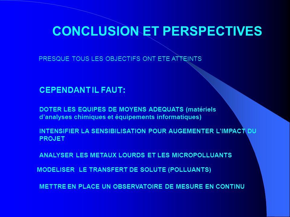 CONCLUSION ET PERSPECTIVES PRESQUE TOUS LES OBJECTIFS ONT ETE ATTEINTS MODELISER LE TRANSFERT DE SOLUTE (POLLUANTS) INTENSIFIER LA SENSIBILISATION POU