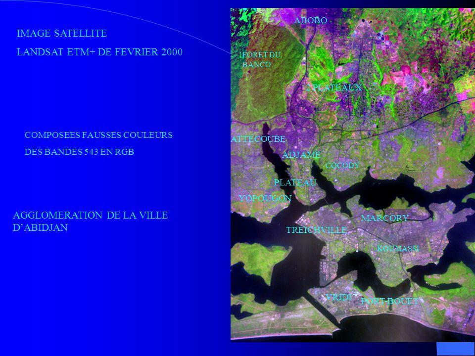COCODY ABOBO FORET DU BANCO KOUMASSI VRIDI PORT-BOUET PLATEAU YOPOUGON TREICHVILLE MARCORY ADJAME ATTECOUBE 2 PLATEAUX IMAGE SATELLITE LANDSAT ETM+ DE