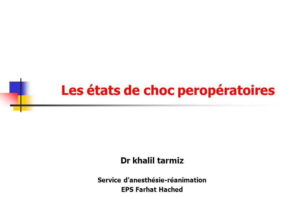 Les états de choc peropératoires Dr khalil tarmiz Service danesthésie-réanimation EPS Farhat Hached