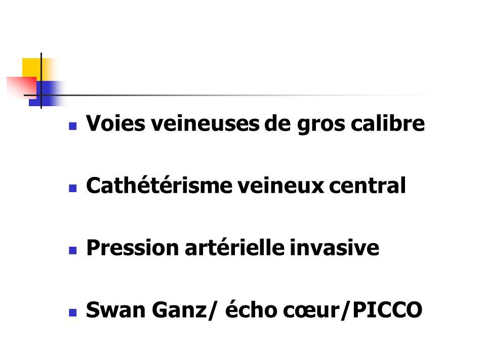 Voies veineuses de gros calibre Cathétérisme veineux central Pression artérielle invasive Swan Ganz/ écho cœur/PICCO