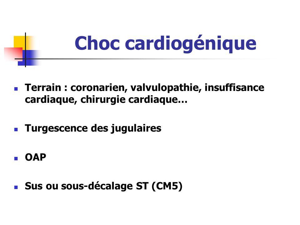 Choc cardiogénique Terrain : coronarien, valvulopathie, insuffisance cardiaque, chirurgie cardiaque… Turgescence des jugulaires OAP Sus ou sous-décala