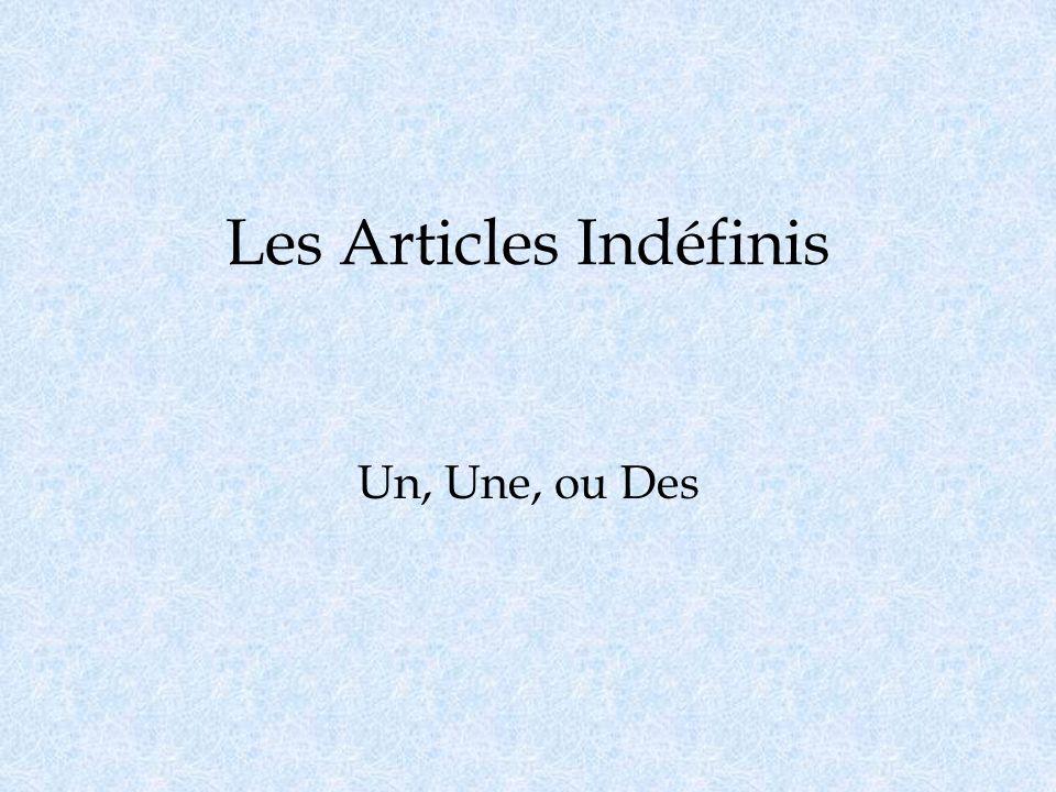 Les Articles Indéfinis Un, Une, ou Des
