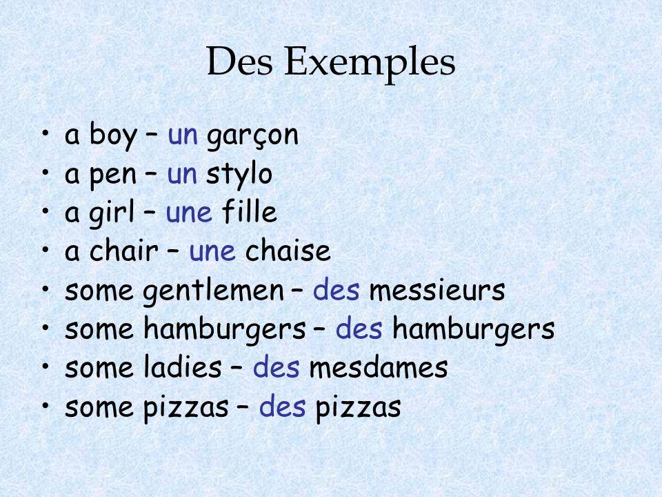 Des Exemples a boy – un garçon a pen – un stylo a girl – une fille a chair – une chaise some gentlemen – des messieurs some hamburgers – des hamburgers some ladies – des mesdames some pizzas – des pizzas