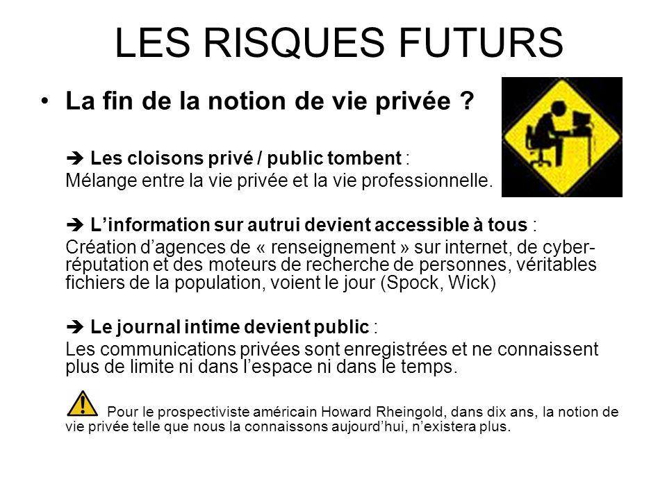 LES RISQUES FUTURS La fin de la notion de vie privée ? Les cloisons privé / public tombent : Mélange entre la vie privée et la vie professionnelle. Li