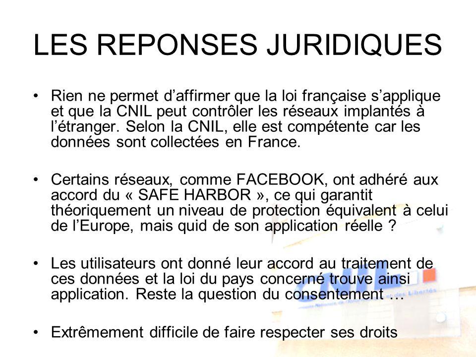 LES REPONSES JURIDIQUES Rien ne permet daffirmer que la loi française sapplique et que la CNIL peut contrôler les réseaux implantés à létranger. Selon