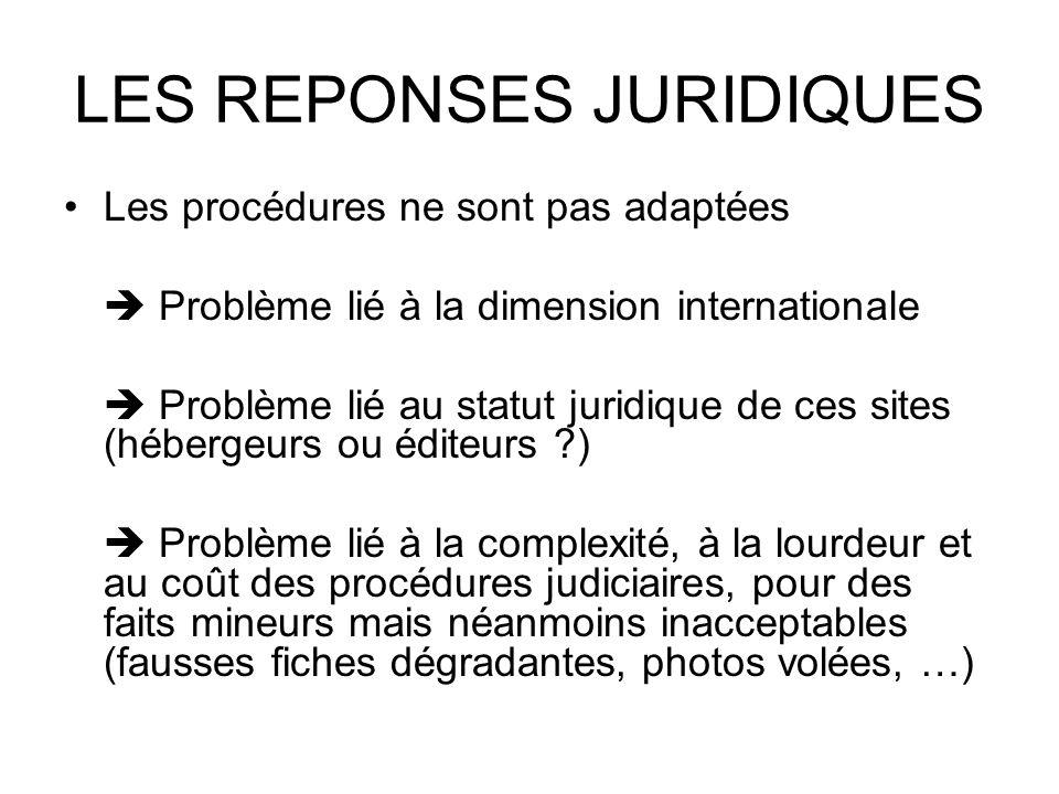 LES REPONSES JURIDIQUES Les procédures ne sont pas adaptées Problème lié à la dimension internationale Problème lié au statut juridique de ces sites (