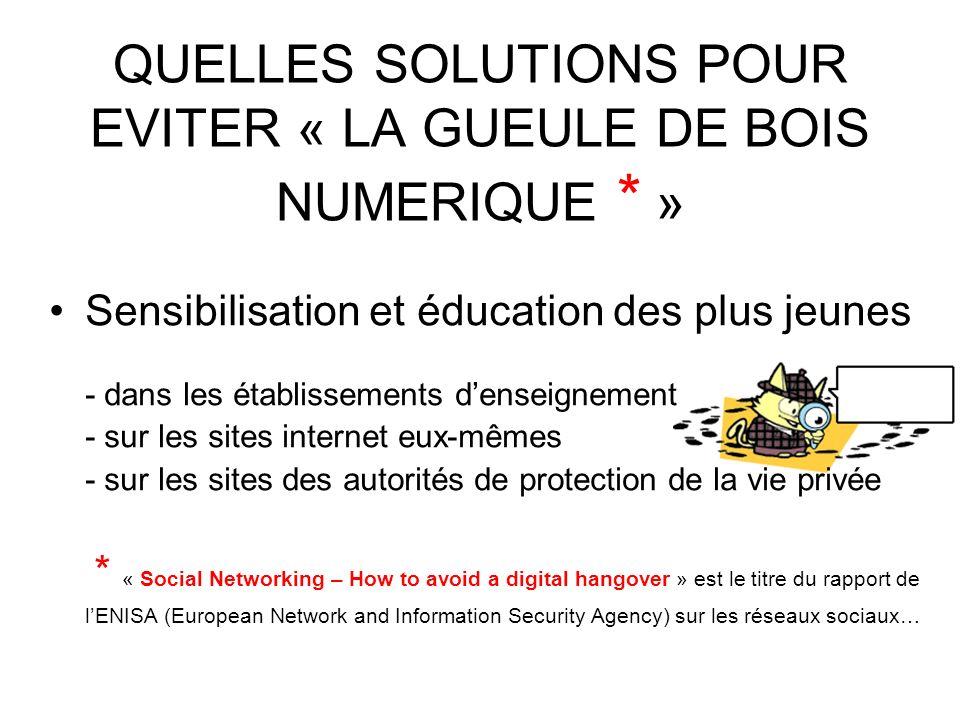 QUELLES SOLUTIONS POUR EVITER « LA GUEULE DE BOIS NUMERIQUE * » Sensibilisation et éducation des plus jeunes - dans les établissements denseignement -