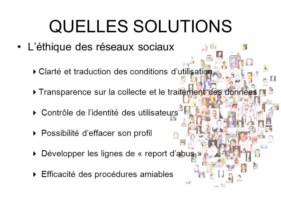QUELLES SOLUTIONS Léthique des réseaux sociaux Clarté et traduction des conditions dutilisation Transparence sur la collecte et le traitement des donn