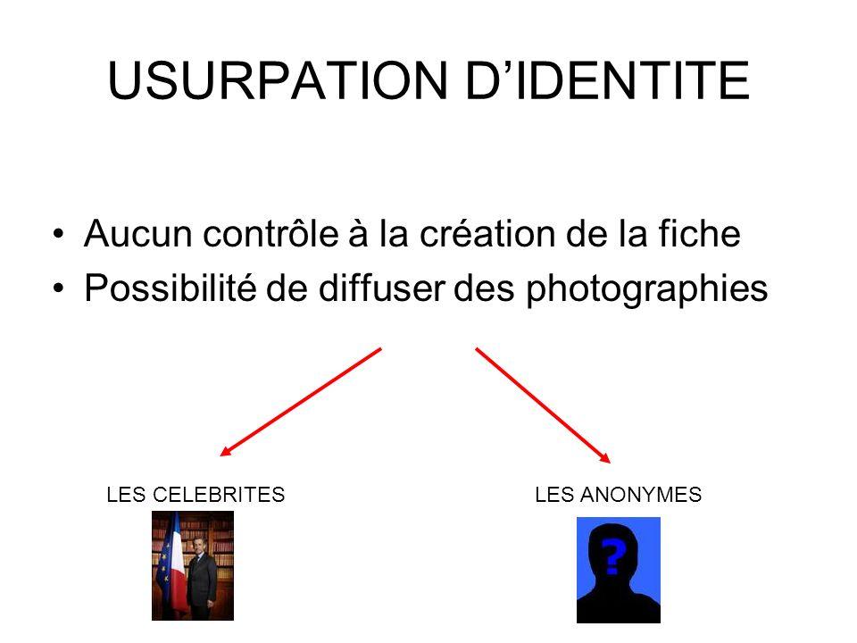 USURPATION DIDENTITE Aucun contrôle à la création de la fiche Possibilité de diffuser des photographies LES CELEBRITES LES ANONYMES
