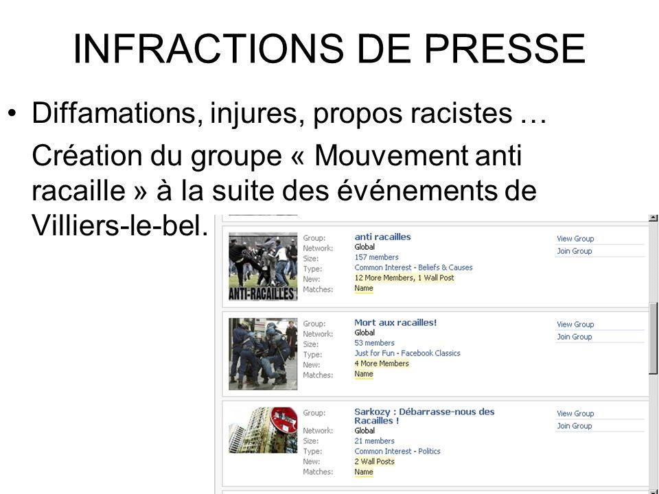 INFRACTIONS DE PRESSE Diffamations, injures, propos racistes … Création du groupe « Mouvement anti racaille » à la suite des événements de Villiers-le