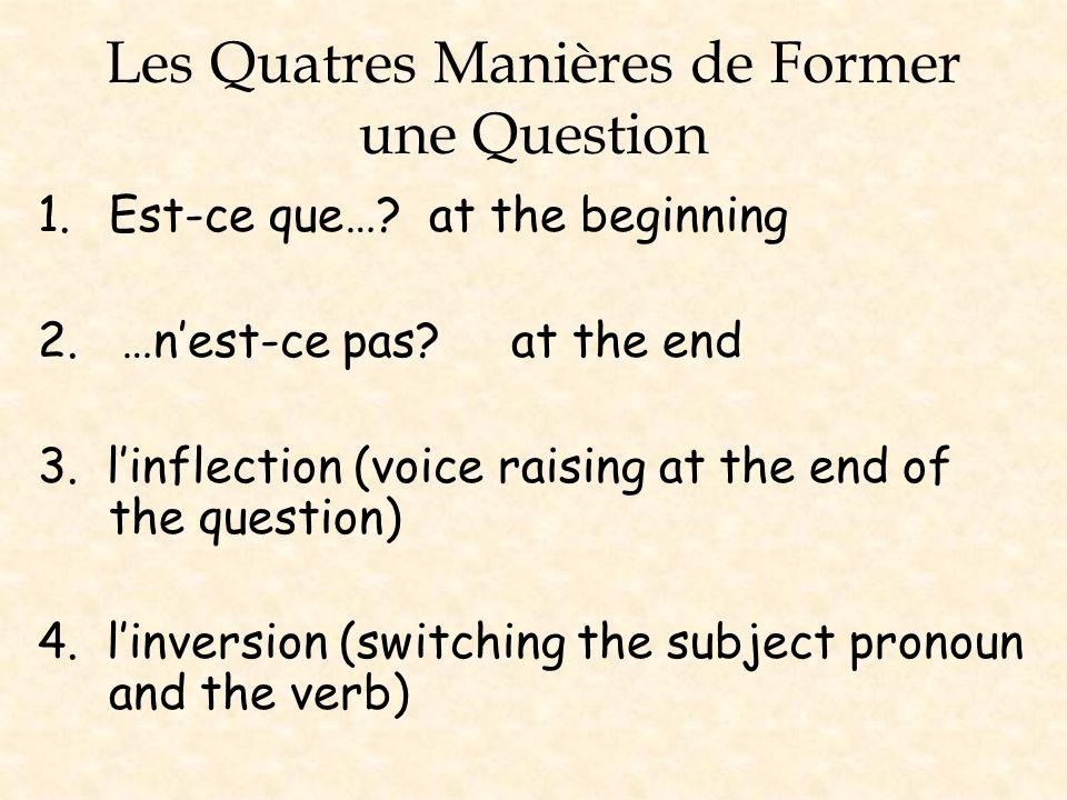 Les Quatres Manières de Former une Question 1.Est-ce que…? at the beginning 2. …nest-ce pas? at the end 3. linflection (voice raising at the end of th