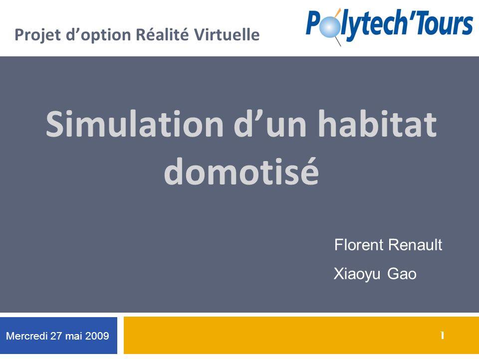 1 1 Projet doption Réalité Virtuelle Simulation dun habitat domotisé Florent Renault Xiaoyu Gao Mercredi 27 mai 2009