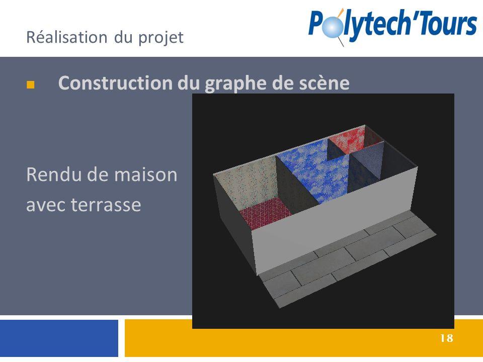 18 Réalisation du projet Construction du graphe de scène Rendu de maison avec terrasse