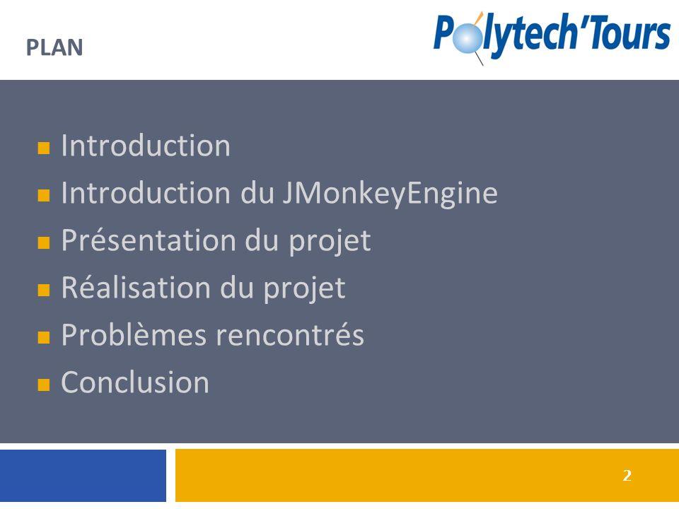 2 2 PLAN Introduction Introduction du JMonkeyEngine Présentation du projet Réalisation du projet Problèmes rencontrés Conclusion