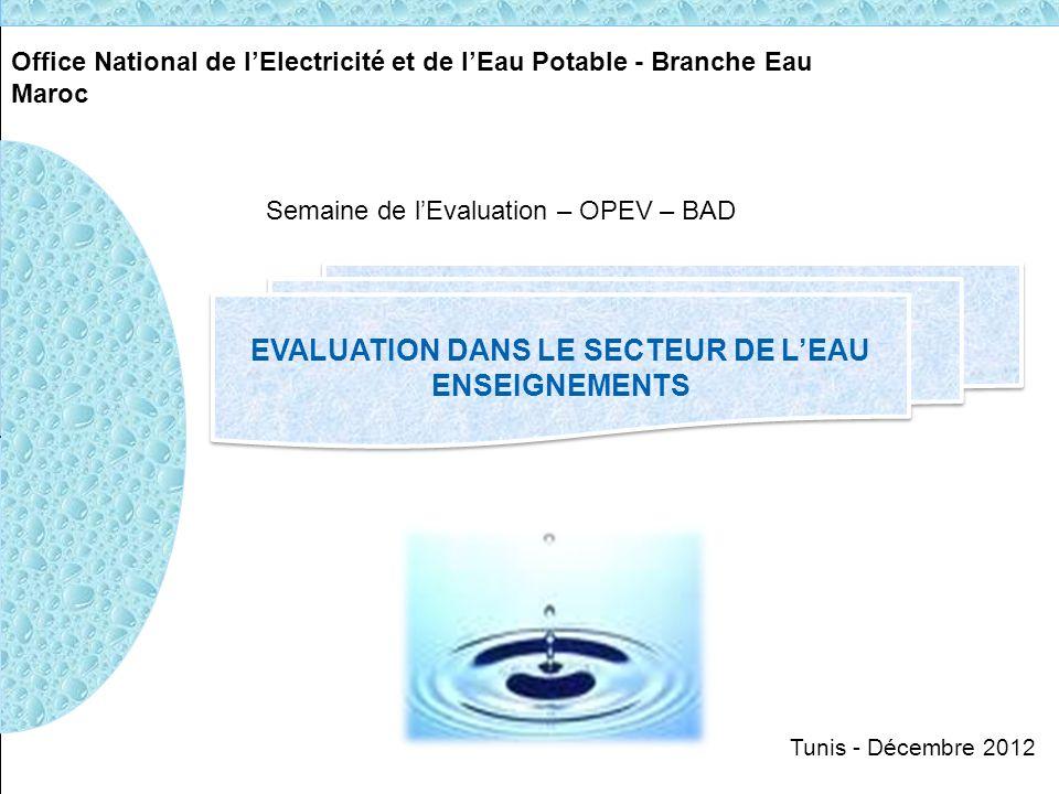 Office National de lElectricité et de lEau Potable - Branche Eau Maroc EVALUATION DANS LE SECTEUR DE LEAU ENSEIGNEMENTS EVALUATION DANS LE SECTEUR DE