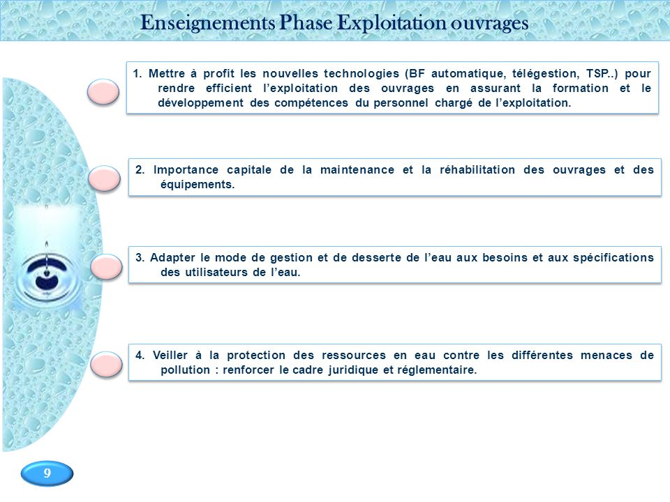 Page 9 9 2. Importance capitale de la maintenance et la réhabilitation des ouvrages et des équipements. 1. Mettre à profit les nouvelles technologies
