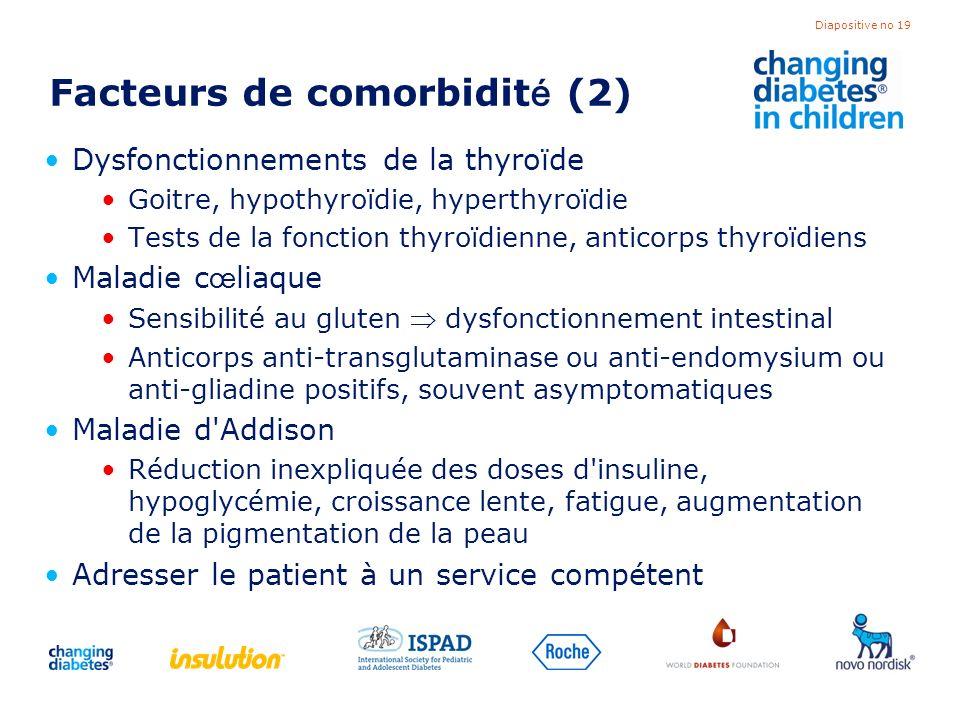 Diapositive no 19 Facteurs de comorbidit é (2) Dysfonctionnements de la thyroïde Goitre, hypothyroïdie, hyperthyroïdie Tests de la fonction thyroïdien