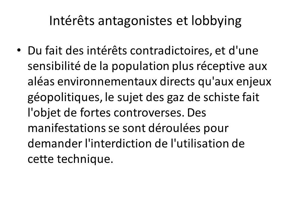 Intérêts antagonistes et lobbying Du fait des intérêts contradictoires, et d'une sensibilité de la population plus réceptive aux aléas environnementau