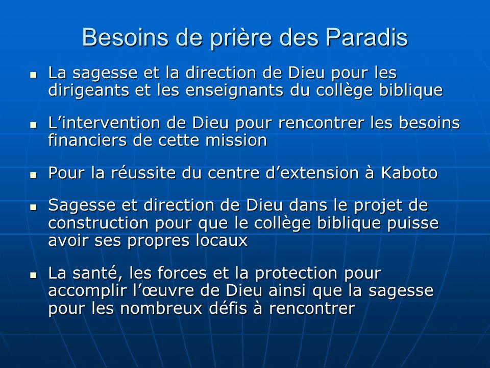 Besoins de prière des Paradis La sagesse et la direction de Dieu pour les dirigeants et les enseignants du collège biblique La sagesse et la direction