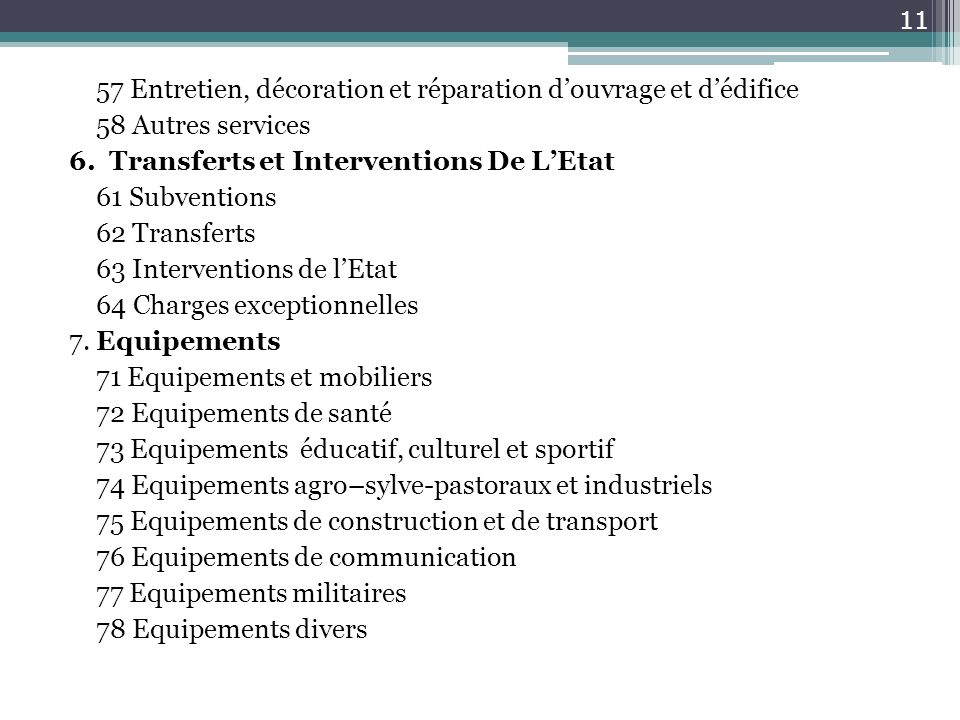 57 Entretien, décoration et réparation douvrage et dédifice 58 Autres services 6. Transferts et Interventions De LEtat 61 Subventions 62 Transferts 63